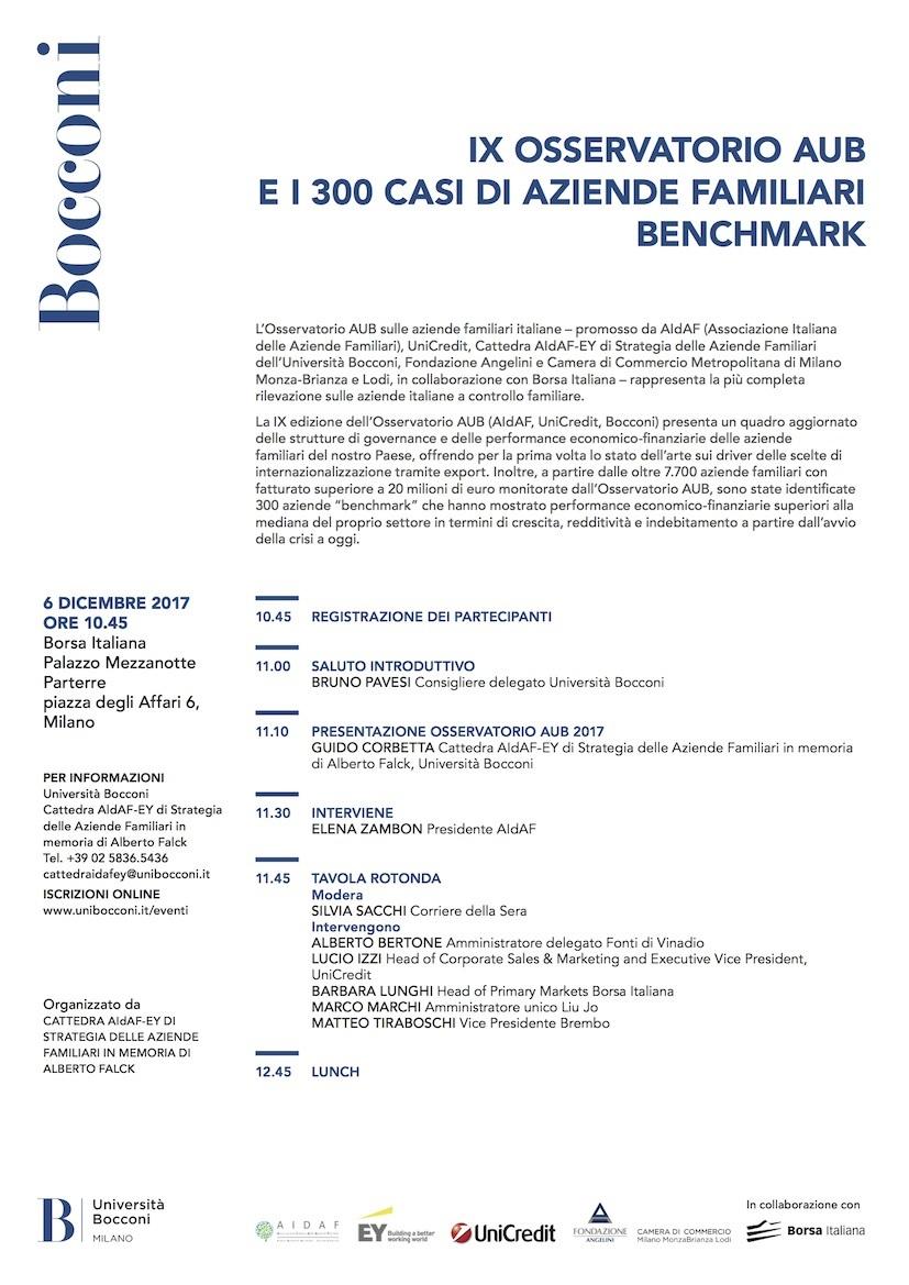 IX OSSERVATORIO AUB E I 300 CASI DI AZIENDE FAMILIARI BENCHMARK